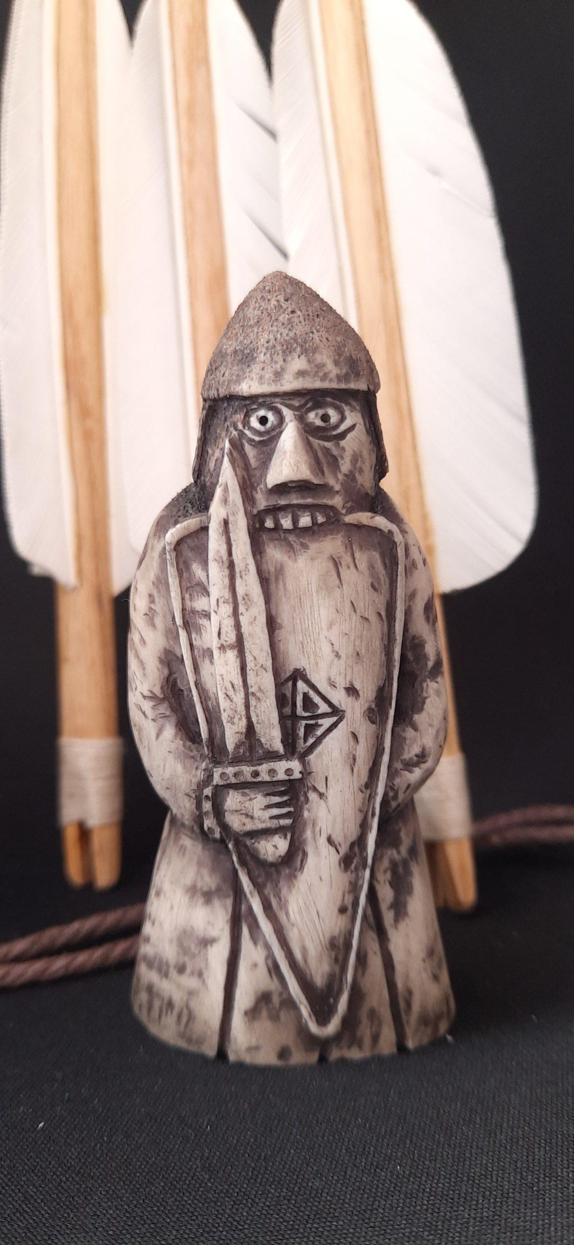 Viking Lewis Chessmen Set Rook Berserker antler hand-carved